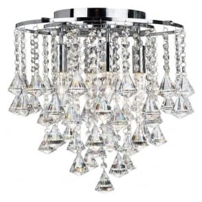 3494-4CC Dorchester 4 Light Crystal Ceiling Light Polished Chrome