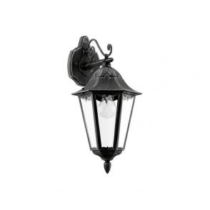 93456 Navedo 1 Light Outdoor Wall Light Black/Silver IP44