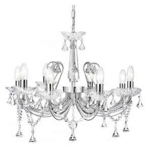 1398-8CC Lafayette 8 Light Crystal Chandelier Polished Chrome