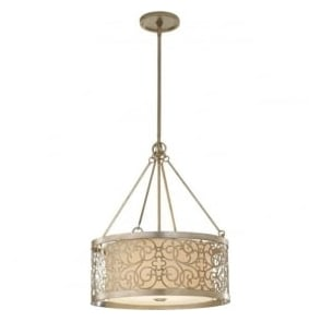 Lighting Feiss FE/ARABESQUE4 Arabesque 4 Light Ceiling Pendant Silver Leaf Patina