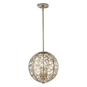 Lighting Feiss FE/ARABESQUE3 Arabesque 3 Light Ceiling Pendant Silver Leaf Patina
