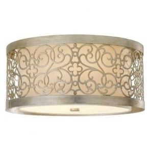 Lighting Feiss FE/ARABESQUE/F Arabesque 2 Light Ceiling Light Silver Leaf Patina