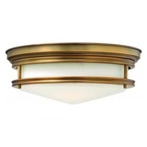Lighting Hinkley HK/HADLEY/F/BR Hadley 3 Light Flush Ceiling Light Brushed Bronze