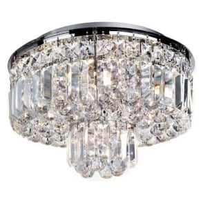7755-5CC Vesuvius 5 Light Crystal Semi-flush Ceiling Light Polished Chrome