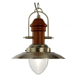 3301AB Fisherman 1 Light Ceiling Pendant Antique Brass