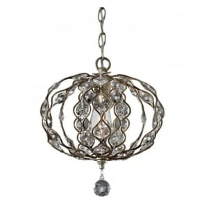 Lighting Feiss FE/LEILA1C Leila 1 Light Crystal Ceiling Pendant Burnished Silver