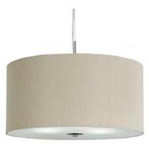 2356-60CR Drum Pleat 3 Light Ceiling Pendant Cream