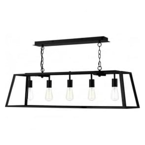 Dar ACA0522 Academy 5 Light Ceiling Pendant Black