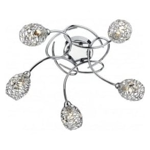 NUM5450 Numero 5 Light Semi-Flush Ceiling Light Polished Chrome