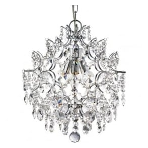 7673-3CC Harrietta 3 Light Crystal CeilingPendant Polished Chrome