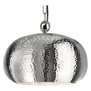 2094-39CC Hammered 1 Light Ceiling Pendant Shiny Nickel