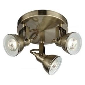 1543AB Focus 3 Light Ceiling Spotlight Antique Brass
