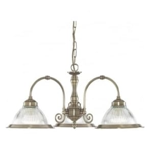 9343-3 American Diner 3 Light Ceiling Light Antique Brass