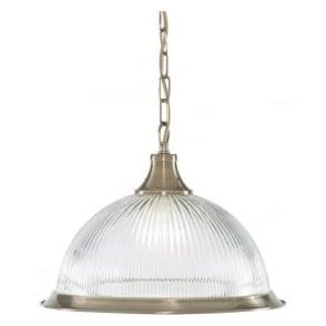 9369 American Diner 1 Light Ceiling Pendant Antique Brass
