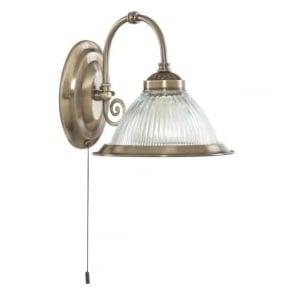 9341-1 American Diner 1 Light Wall Light Antique Brass