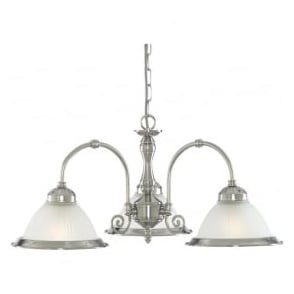1043-3 American Diner 3 Light Ceiling Light Satin Silver