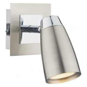 LOF0746 Loft 1 Light Switched Wall Spotlight Satin Chrome