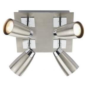 LOF8546 Loft 4 Light Ceiling Spotlight Satin Chrome