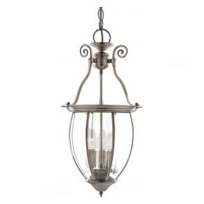 9501-3 Lanterns 3 Light Ceiling Pendant Antique Brass