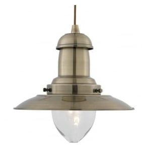 4301AB Fisherman 1 Light Ceiling Pendant Antique Brass
