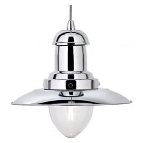 4301CC Fisherman 1 Light Ceiling Pendant Polished Chrome