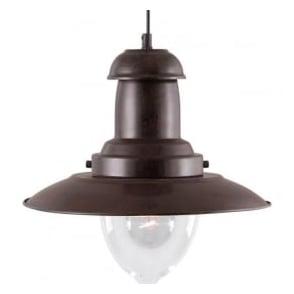 4301RU Fisherman 1 Light Ceiling Pendant Rustic Black