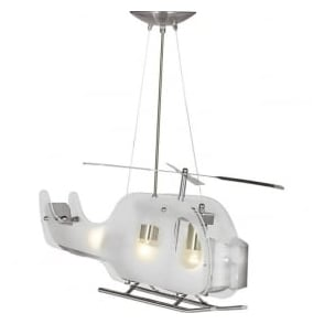 639 Novelty Helicopter 3 Light Ceiling Pendant Satin Silver