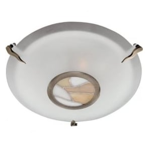36095AM Tiffany 2 Light Flush Ceiling Light Antique Brass
