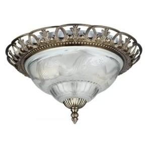 7045-13 Flush 2 Light Flush Ceiling Light Antique Brass