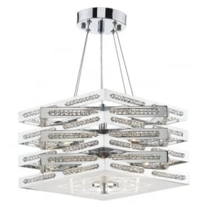 CUB0550 Cube 5 Light Crystal Ceiling Light Polished Chrome