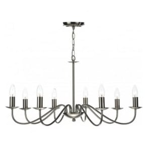 IRW0846 Irwin 8 Light Ceiling Light Satin Chrome