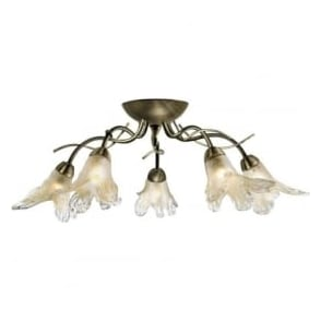 5495-5AB Lily 5 Light Traditional Flush Ceiling Light Antique Brass Finish
