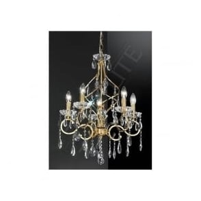 FL2159/5 Chiffon 5 Light Crystal Ceiling Light Gold