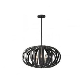 Feiss FE/WOODSTOCK/P/L Woodstock 6 Light Ceiling Pendant Black
