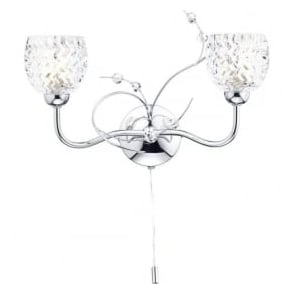 ANN0950 Annabelle 2 Light Switched Wall Light Polished Chrome