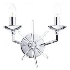 NEP0950 Nepal 2 Light Switched Wall Light Polished Chrome