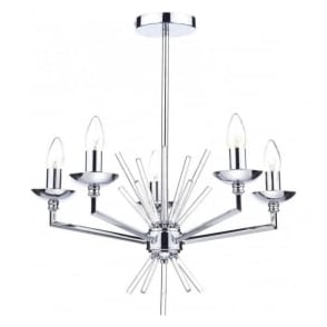 NEP0550 Nepal 5 Light Ceiling Light Polished Chrome