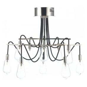 SCR2338 Scroll 10 Light Ceiling Light Polished Nickel