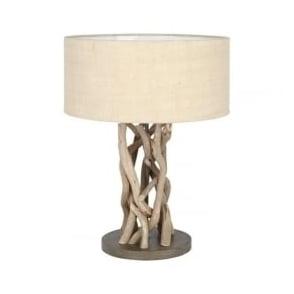 30-075-C Derna Driftwood And Natural Jute Table Lamp