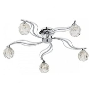 FUE5450 Fuego 5 Light Semi-Flush Ceiling Light Polished Chrome