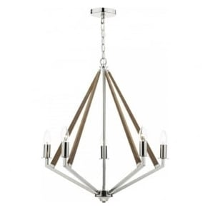 HOT0538 Hotel 5 Light Ceiling Light Polished Nickel