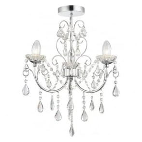 61251 Tabitha 3 Light Semi Flush Ceiling Light IP44 Polished Chrome