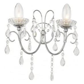 61385 Tabitha 2 Light Wall Light IP44 Polished Chrome