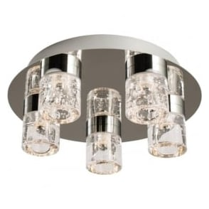 61358 Imperial 5 Light LED Flush Ceilling Light IP44 Polished Chrome