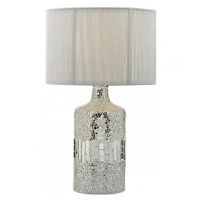 GUR4239 Guru 2 Light Mosaic Table Lamp Silver