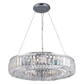 61151 Banderas 8 Light Crystal Ceiling Light Polished Chrome
