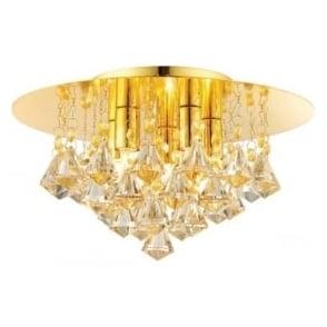 61245 Renner 5 Light Crystal Ceiling Light Gold