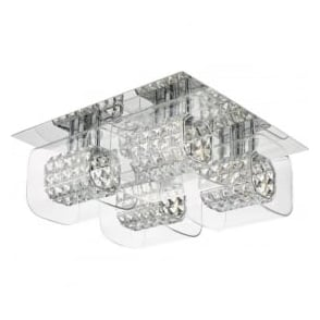 KAB5050 Kabuki 4 Light Crystal Flush Ceiling Light Polished Chrome