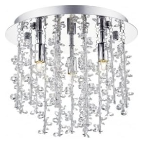 SES5250 Sestina 3 Light Crystal Flush Ceiling Light Polished Chrome