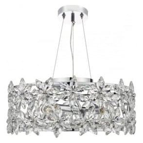 LUE0450 Luella 4 Light Crystal Ceiling Pendant Polished Chrome